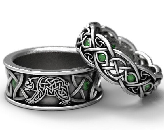 RESERVED For Danielle, 5 Payments for 2 Ring Set Sterling Silver Bear Band and Infinity Wedding Band with Emeralds, Custom CR-1126 CR-1052