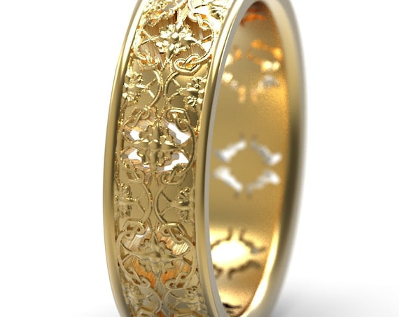 Gold Art Nouveau Band Trellis and Vine Ring, Botanical Jewelry, Handcrafted Rings, 10k 14k 18k Gold, Platinum and Palladium Custom Size 5079