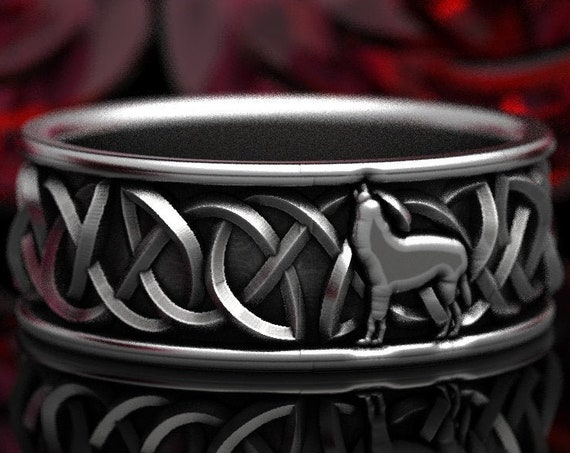 Sterling Silver Wolf Ring with Celtic Knots, Wolf Wedding Band, Celtic Animal Ring, Wolf Jewelry, Norse Wolf Ring, Viking Wolf Jewelry 1170B