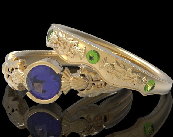 RESERVED FOR Julie, Custom Thistle Engagement Ring Set in 10K Yellow Gold with Peridot and Amethyst, Scottish Solitare, CR5062