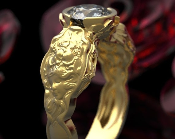 Gold Evangeline Solitaire Moissanite Ring, Art Nouveau Engagement Ring, Unique Wedding Ring, 10K 14K 18K Gold, or Platinum, Custom Size 6006