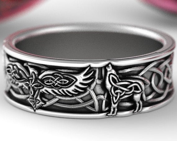 RESERVED FOR Samantha, Custom Celtic Raven and Wolves Silver Ring, Raven Wedding Band, Raven Jewelry, Celtic Knot Ring, Custom Size 1183