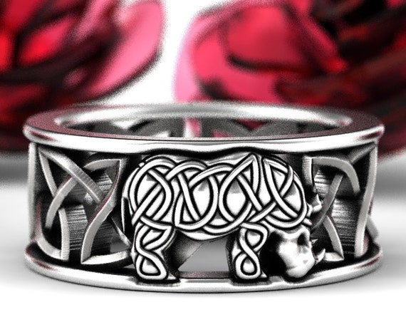 Sterling Silver Rhino Celtic Ring, Mens Wedding Band, Custom Rhinoceros Ring, Silver Rhino Jewelry 1248