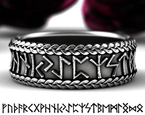 Viking Rune Ring, Silver Rune Wedding Band, Magical Jewelry, Rune Jewlery, Norse Ring, Viking Rune Sterling Ring, Jewelry Custom Size 5102