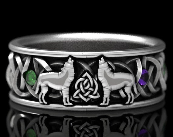RESERVED FOR Linda, Custom Sterling Silver Celtic Wolf Ring with Alternating Alexandrite & Emerald, Wolf Wedding Band, 1170