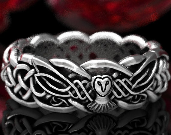 RESERVED FOR tempest618, 4 Payments for Infinity Knot Ring with Owl, Sterling Silver Celtic Wedding Band, Handmade in Your Size, CR1351