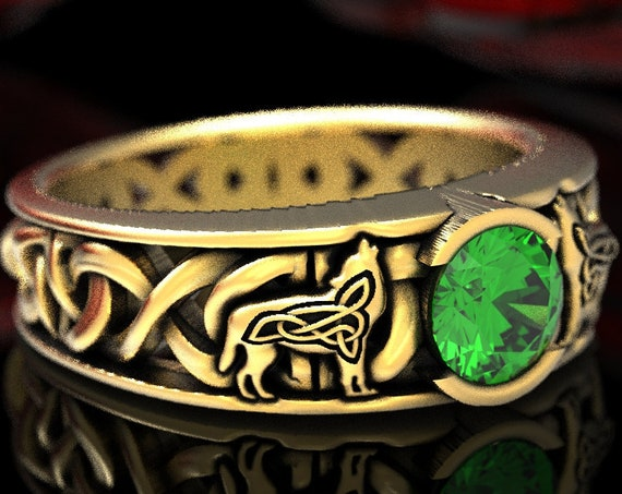 RESERVED FOR Natasja, 4 Payments for Custom 14K Gold Celtic Emerald Solitaire With Dara Knot Style and Wolves, Made in Your Size CR1032