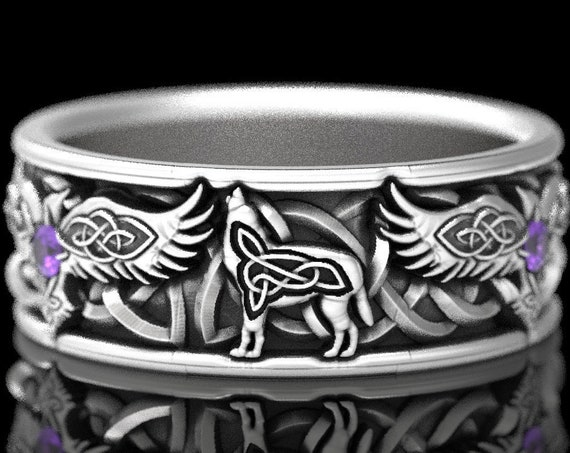 RESERVED FOR Hannah, 5 Payments for Custom Sterling Silver Celtic Raven & Wolf Ring, Raven Wedding Band, Mens Wedding Band, CR1161