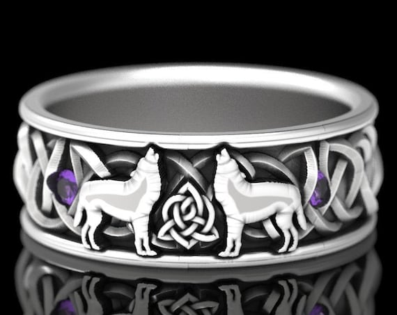 RESERVED FOR Linda, Custom Solid Sterling Silver Celtic Wolf Ring with Alexandrite, Wolf Wedding Band, Celtic Animal Ring, Wolf Jewelry 1170