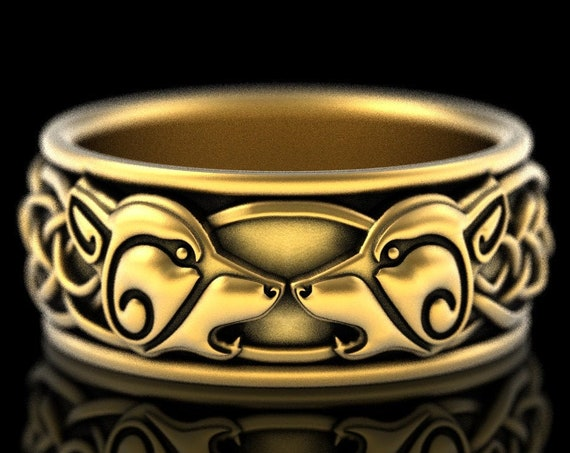 RESERVED FOR kittycat, 2 Payments for 10K Yellow Gold Wolf Wedding Band, Celtic Wolf Ring, Norse Wolf Wedding Ring, Celtic Knot Wolf 1308