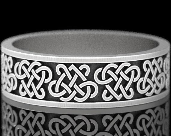 Celtic Heart Weave Ring, Sterling Silver Heart Wedding Band, Celtic Knotwork Ring, Sterling Woven Wedding Ring, Celtic Design CR1394