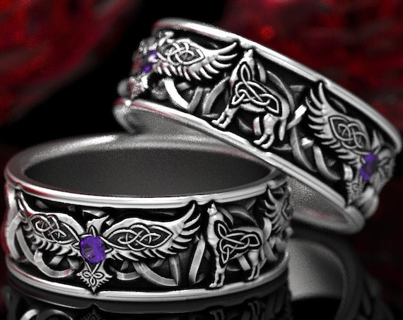 RESERVED FOR Kim, 12 Payments for Custom Sterling Silver Celtic Raven & Wolf Ring Set with Amethyst, Raven Wedding Band Set, CR1161