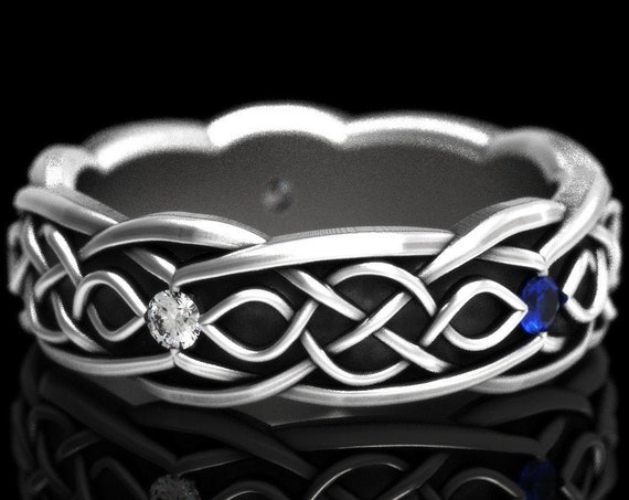 RESERVED FOR Looming, Custom Celtic Wedding Ring With Infinity Symbol Pattern With Blue Sapphire and Moissanite in Sterling Silver CR-1050