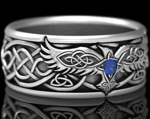 RESERVED FOR Ethyn, 4 Payments for Custom Sterling Silver Infinity Knot Celtic Raven Ring with Sapphire, Mens Wedding Band, CR1308
