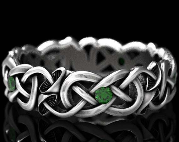 RESERVED FOR Amberleigh, Custom Infinity Symbol Ring with Mushrooms in Sterling Silver with Emeralds, Eternity Knot Wedding Band, CR1371