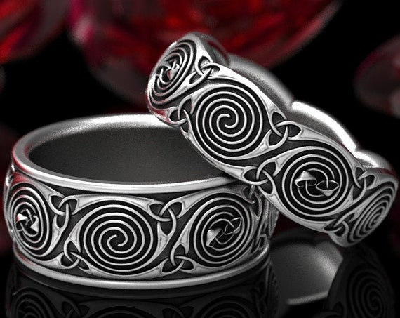 RESERVED FOR Arianna, 2 Payments for Custom Celtic Wedding Ring Set With Spiral Design and Mushrooms in Platinum Made in Your Size CR-1285