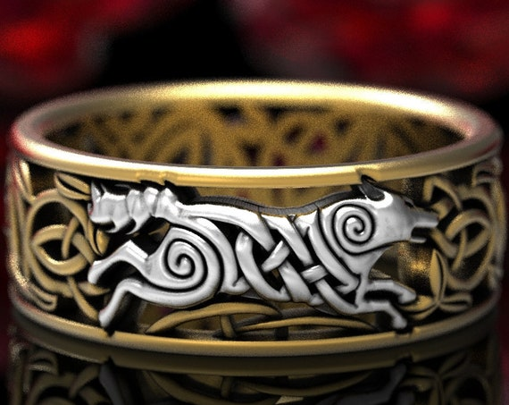 RESERVED FOR Joan, Custom 2-Tone 10K White and Yellow Gold Celtic Wolf Ring, Wolf Knot Celtic Wedding Ring, Wolf Wedding Band, CR1298