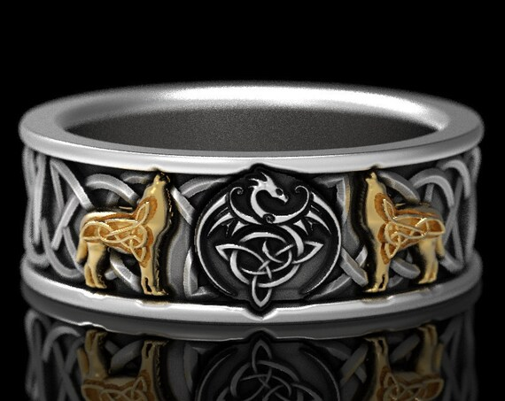RESERVED FOR Ashley, 5 Payments for Custom 2-Tone Celtic Dragon and Wolf Ring, Sterling Silver with 10K Gold Wolves, 1170