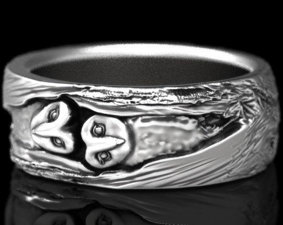 RESERVED FOR David, Custom Sterling Silver Barn Owl Wedding Ring, Owl Wedding Band, Tree Bark Wedding Rings, Barn Owl Ring 5111