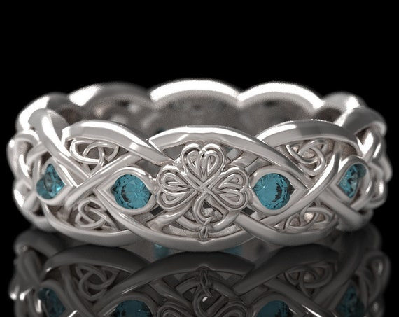 RESERVED FOR Tammie, Custom Infinity Wedding Band With Shamrock & Aquamarine in 10K White Gold, Gold Celtic Ring, 1052