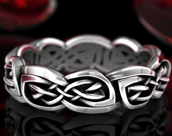 Braided Infinity Knot Celtic Ring, Sterling Silver Woven Wedding Band, Intricate 925 Silver Eternity Ring, Handmade in Your Size, CR1382