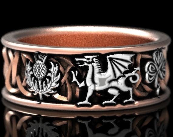 RESERVED FOR AAP, 6 Payments for Custom 2-Tone Welsh Dragon Thistle Shamrock Ring in 10K Rose Gold and Sterling Silver, Custom Size 1182