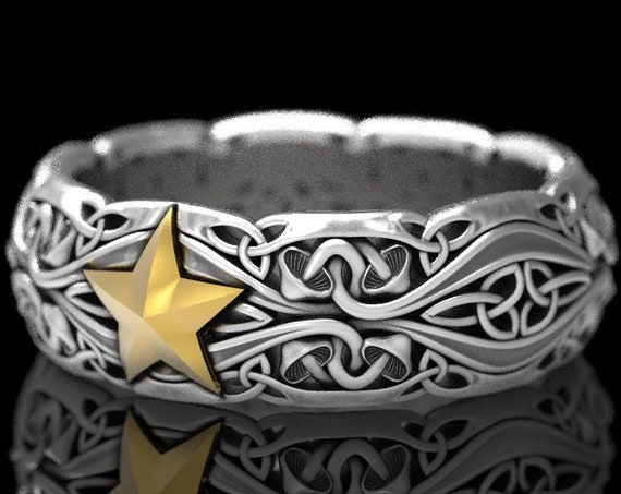 RESERVED FOR Nicole, 10 Payments Custom 2-Tone 14K White Gold Mushroom Wedding Ring with Yellow Gold Star, CR1379