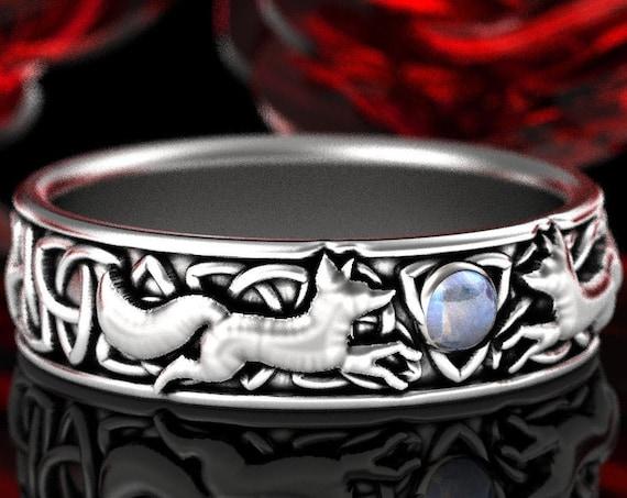 RESERVED FOR tori1993, Custom 14K White Gold Celtic Double Fox Ring with Moonstone, Fox Wedding Band, Womens Gold Kistune Band, CR1241