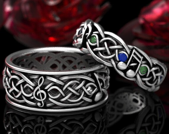 RESERVED FOR Kristi, 2 Payments Custom Musical Infinity Band Wedding Set in Sterling Silver with Sapphire & Emerald, Made in Your Size 1207