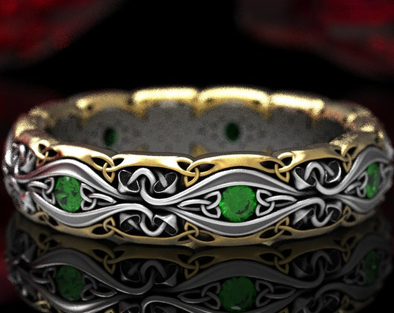 2-Tone Celtic Mushroom Ring with Emeralds in Silver 10K 14K 18K Gold and Platinum, Handmade Trinity Knot Wedding Band for Her, CR1378