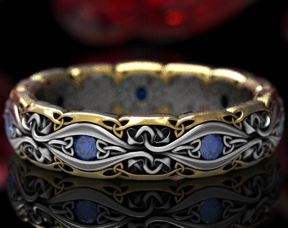 2-Tone Mushroom Celtic Trinity Knot Ring with Sapphires in Silver 10K 14K 18K Gold & Platinum, Handmade Botanical Wedding Band, CR1378