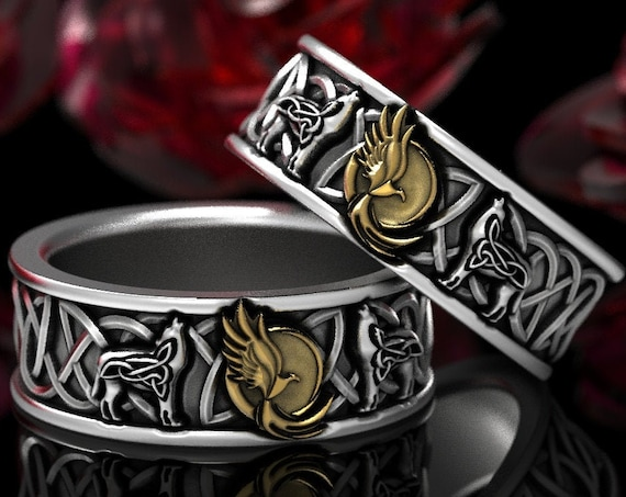 RESERVED FOR Bobbie, 6 Payments for Custom 2-Tone Celtic Wolf and Phoenix Ring Set, Celtic Animal Ring, Wolf Jewelry, CR1170