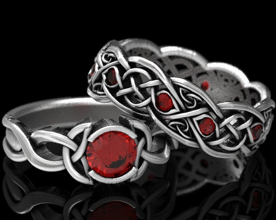 RESERVED FOR Aleman, 4 Payments for 3 Ring Set Infinity Wedding Band With Rubies and Engagement Ring in Silver, CR1096 / CR1052 / CR405b