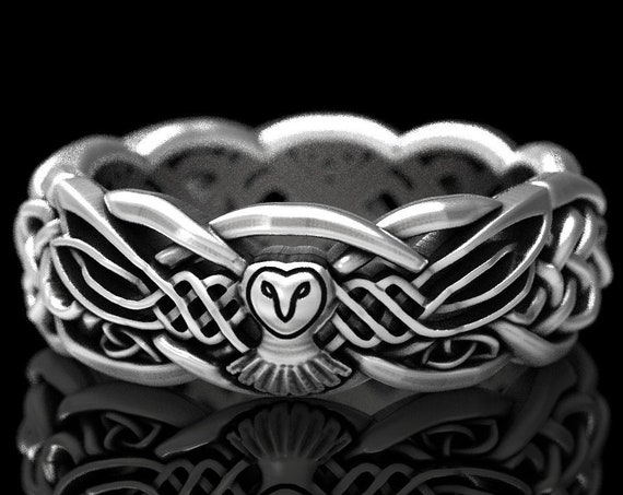 RESERVED FOR Diana, 4 Payments for Custom Infinity Wedding Band with Owl and Birthstones, Sterling Celtic Ring Handcrafted Ring CR1052