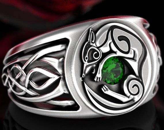 Celtic Wolf Signet Ring with Emerald, Sterling Silver Infinity Knot Wedding Band for Him, Bold Nordic Wolf Ring, Made in Your Size, CR1354