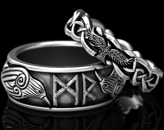 RESERVED FOR Morrigan, Custom Norse Crow Ring Set in Sterling Silver, Celtic Knot Crow Rings, Silver Corvid Wedding Bands, CR1280/1044