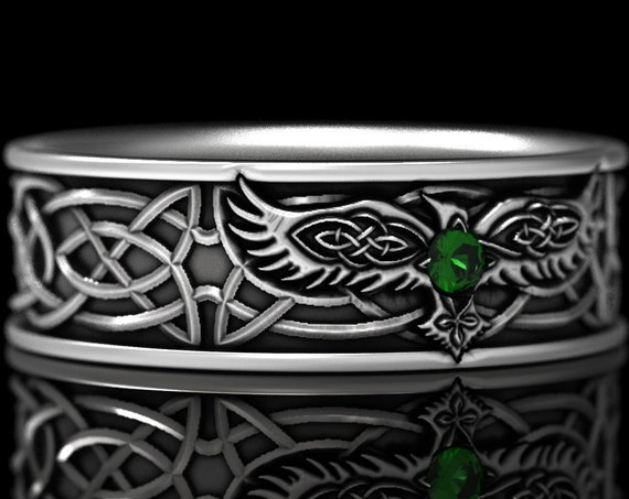 RESERVED FOR SilverHuntress, 4 Payments for 10K White Gold Celtic Raven Ring with Emerald, Mens Wedding Band, Raven Jewelry, CR1161