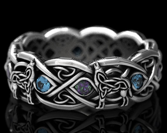 RESERVED FOR Crystal, 15 Payments for Custom 10K White Celtic Wolf Ring with Alternating Alexandrite & Topaz, Custom Ring Design 1267