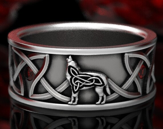 RESERVED FOR Anthony, Sterling Silver Wolf and Natural Rubies Band, Celtic Wolf Ring, Celtic Knot Ring, Custom Size