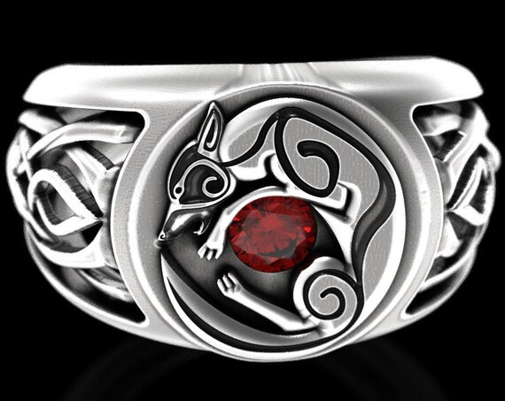 RESERVED FOR Julia Celtic Wolf Signet Ring with Ruby, Sterling Silver Infinity Knot Wedding Band for Him, Bold Nordic Wolf Ring, CR1354