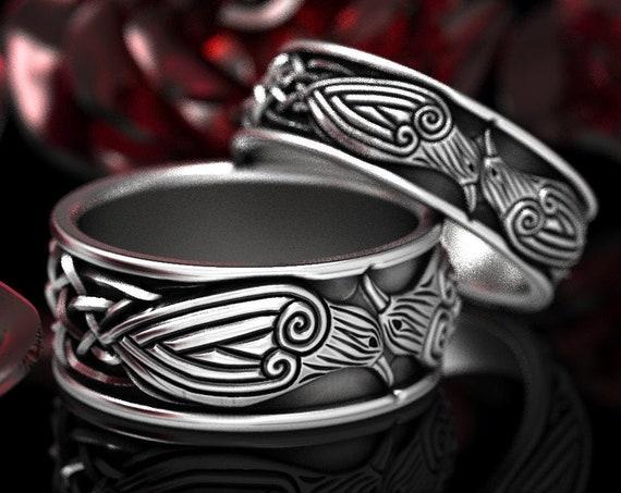 RESERVED FOR Michael, 2 Ring Set Custom Celtic Trinity Knot with Ravens, 18K White Gold Celtic Knot Rings,  CR-112