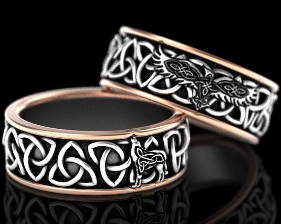 RESERVED FOR Kim, Custom 2-Tone 14K White and Rose Gold Celtic Raven and Wolf Ring Set, Trinity Knot Wedding Bands, CR1171 / CR1196