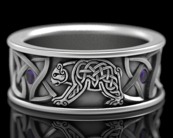 RESERVED FOR Emmett, 4 Payments for Custom Sterling Silver Bear Wedding Band with Amethysts, Celtic Bear Ring, Custom Size CR-1126