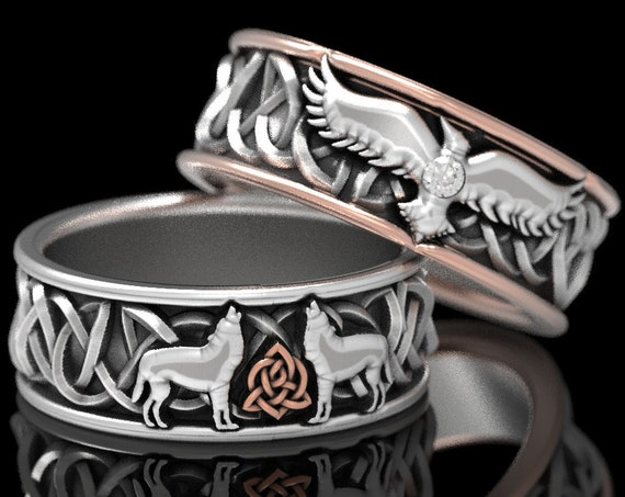 RESERVED FOR KC, 2 Payments for Custom 10k White & Rose Gold Celtic Ring Set, 2-Tone Raven with Diamond and Wolf Wedding Bands, 1170E / 1161