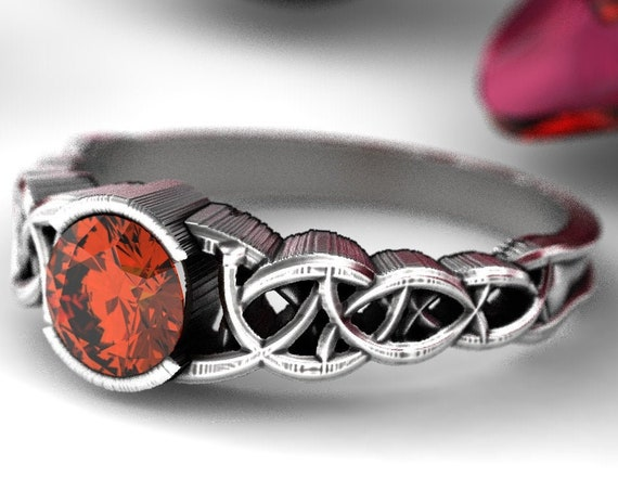 RESERVED FOR Traci, Custom Celtic Sapphire Engagement Ring, Orange Sapphire with Dara Knotwork Design in Sterling Silver, CR-430