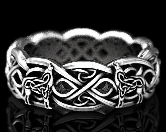 RESERVED FOR Courtney, Sterling Silver Celtic Wolf Ring, Eternity Band Celtic Wolf Jewelry, Custom Ring Design 1267