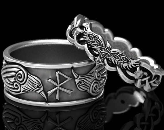 RESERVED FOR Natalie, 10 Payments for Custom Norse Raven Ring Set in 10K White Gold, Celtic Knot Raven Ring, Raven Wedding Band, CR1280/1044