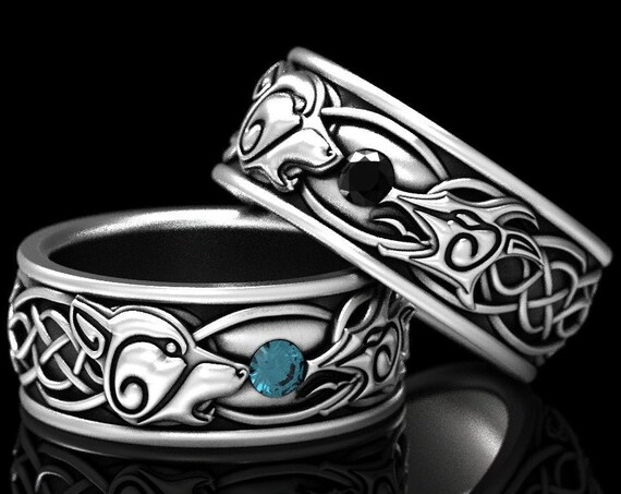 RESERVED FOR Christina, 6 Payments Custom Wolf and Dragon Wedding Ring Set, Sterling Silver Wedding Bands with Onyx and Aquamarine, 1308