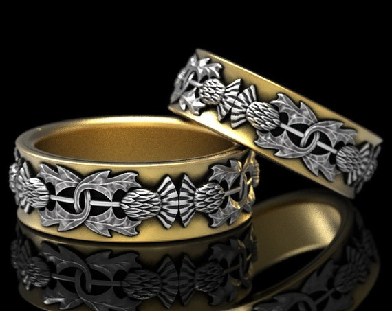RESERVED FOR Amy & Tim, 2 Ring Set Custom 2-Tone Scottish Thistle in 14K Gold, Botanical Jewelry, Handcrafted Rings in Platinum 5057
