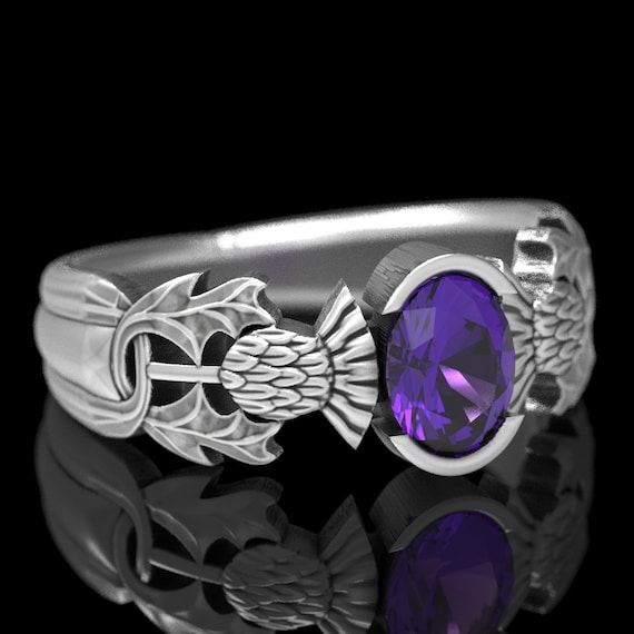 Thistle Engagement Ring, Sterling Silver Amethyst Ring, Scottish Solitare, Oval Amethyst Nature Inspired Engagement Ring 5062